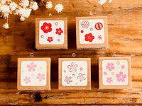 Pretty Japanese Flora Wooden Rubber Stamps