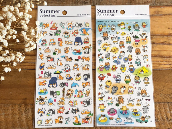 Sheet of Stickers -  Gorogoro Nyansuke & Shibanban Summer Collection