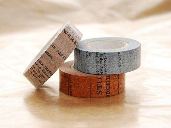 Japanese Washi Masking Tapes-  15mm Old Book blue, brown or gray at your choice