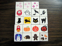 Mini Japanese Wooden Rubber Stamp - Kabuki Mask, Kokeshi & Beckoning Cat