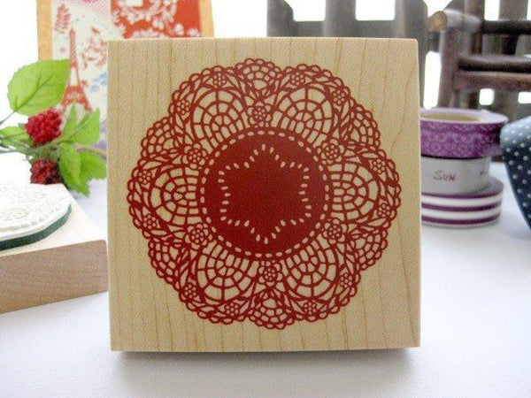 On Sale - Japanese Big Doily Lace Pattern Wooden Rubber Stamp (Red)