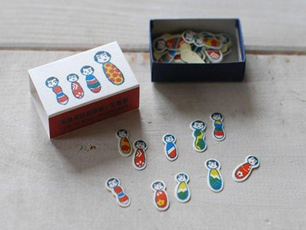 Classiky 68 beautiful Japanese Wood Dolls (Kokeshi Dolls) stickers in a super cute  Matchbox