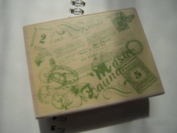 Japanese Wood Rubber Stamp - Collage