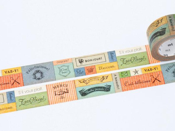 MT ex 2012 Autumn - Japanese Washi Masking Tape / 22mm Messages in French