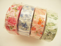 Discontinued - Japanese Washi Masking Tapes / Red, Blue, Green and Orange Flowers at your choice