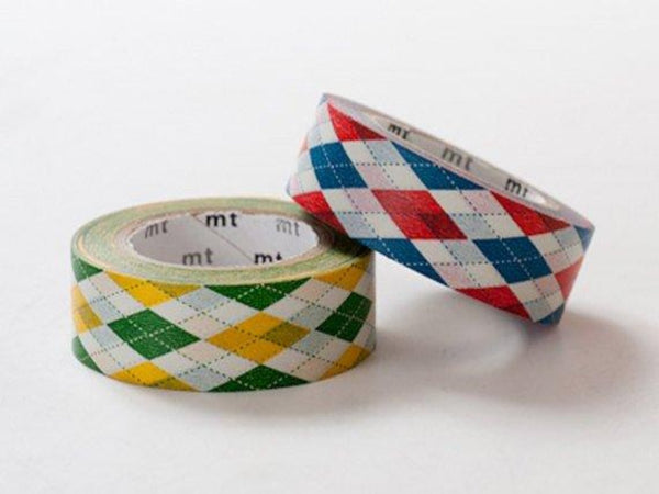 2 DOLLAR SALE-Discontinued  MT 2013 Single Japanese Washi Masking Tapes / Green or Red Argyle