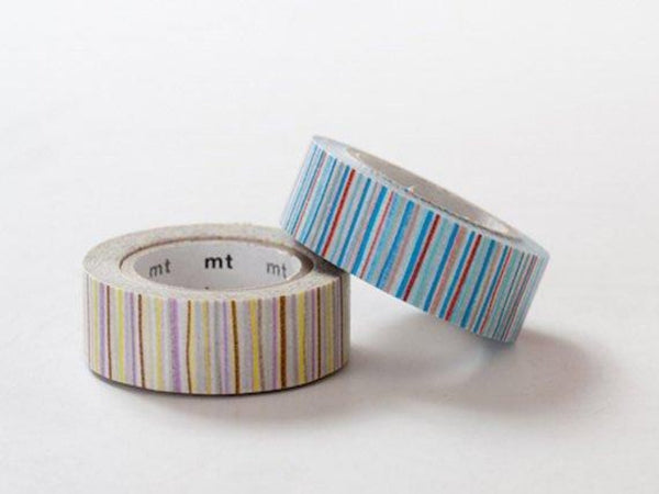 1 DOLLAR SALE - MT 2013 Japanese Washi Masking Tapes / Blue & Purple Colorful Stripes