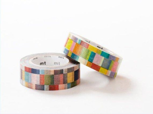 MT 2013 Single Japanese Washi Masking Tape / Bright or Dark Colorful Mosaic