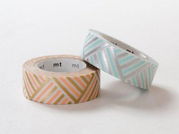 MT 2013 S/S Japanese Washi Masking Tape / Peach & Blue Corner Stripes