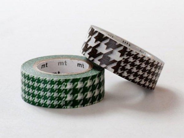 Discontinued - MT 2013 -  Japanese Washi Masking Tape SINGLE / Green or Dark Brown Houndstooth