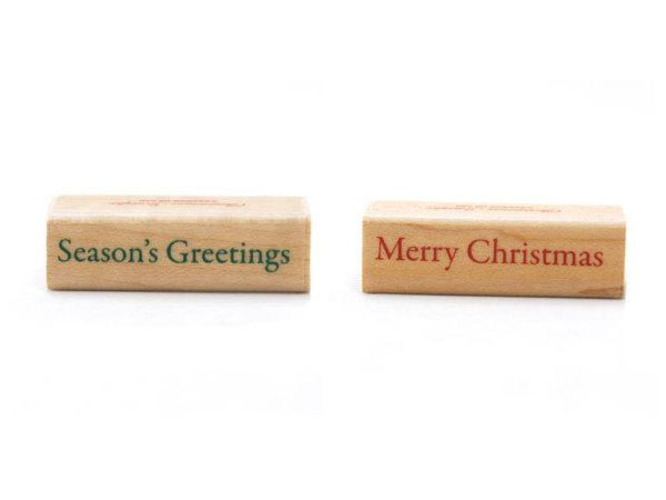 "Pretty Japanese ""Season's Greetings"" and ""Merry Christmas"" Wooden Rubber Stamps for Holiday Cards, Invitations, Tags, Packagings and more"