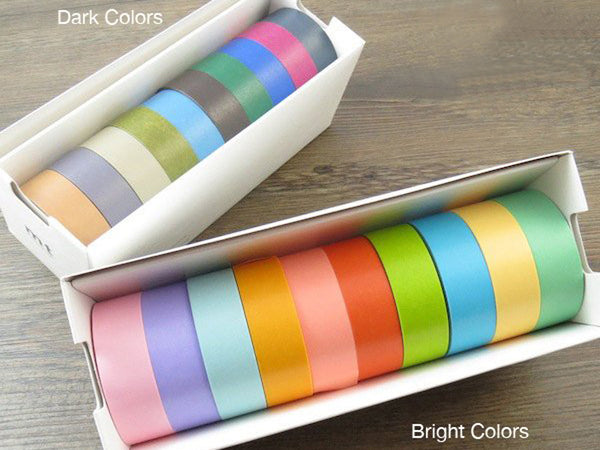 Japanese Masking Tapes pack of 10 - Bright or Dark Color set