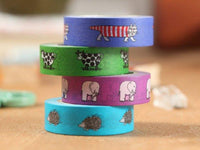 MT ex 2013 - Japanese Washi Masking Tape Lisa Larson Series - Iggy the Hedgehog, Mikey the Cat, Purple Elephant or Green Cow