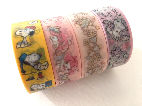 Sanrio 15mm slim Paper Deco Tapes / Kitty, My Melody, Little Twin Stars, Snoopy at your choice
