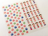 Sheet of Stickers - Daruma & Kokeshi Dolls Masking Stickers