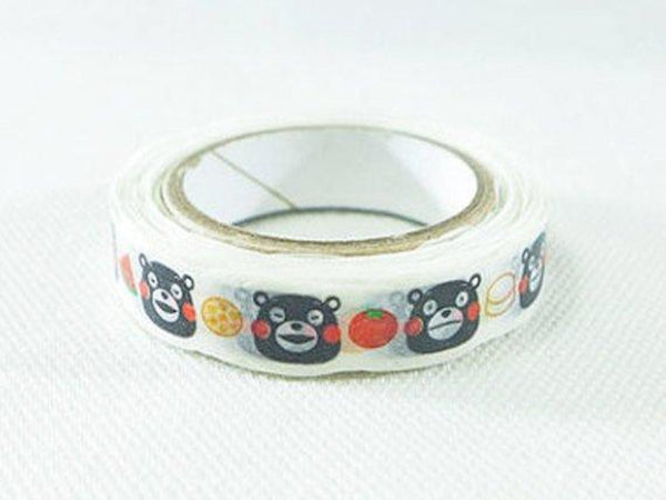 nami nami slim Die-Cut Japanese Washi Masking Tape / 8mm Kumamon Bear