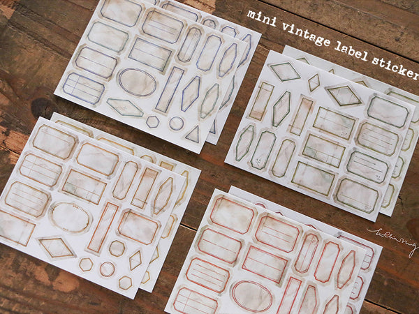 Lin Chia Ning / Mini Vintage Labels Sticker Set - 8 Sheets
