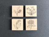 Japanese Botanical Garden Wooden Rubber Stamp - Lily of the valley
