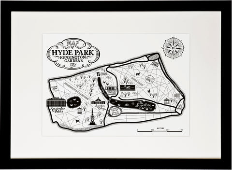 Hyde park and Kensington Gardens Map Print