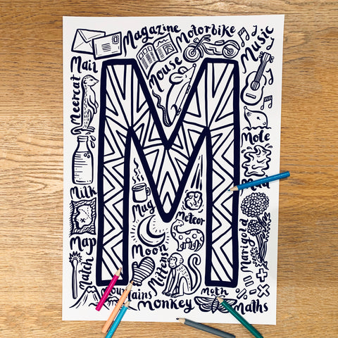 Letter M Colouring Poster - download