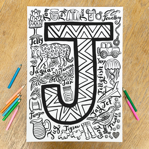Letter J Colouring Poster - download