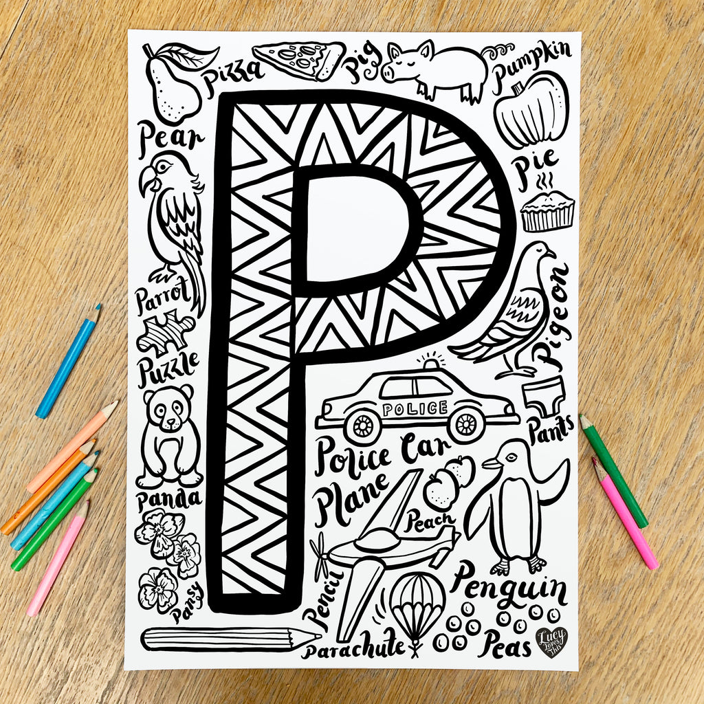 Letter P Colouring Poster - download