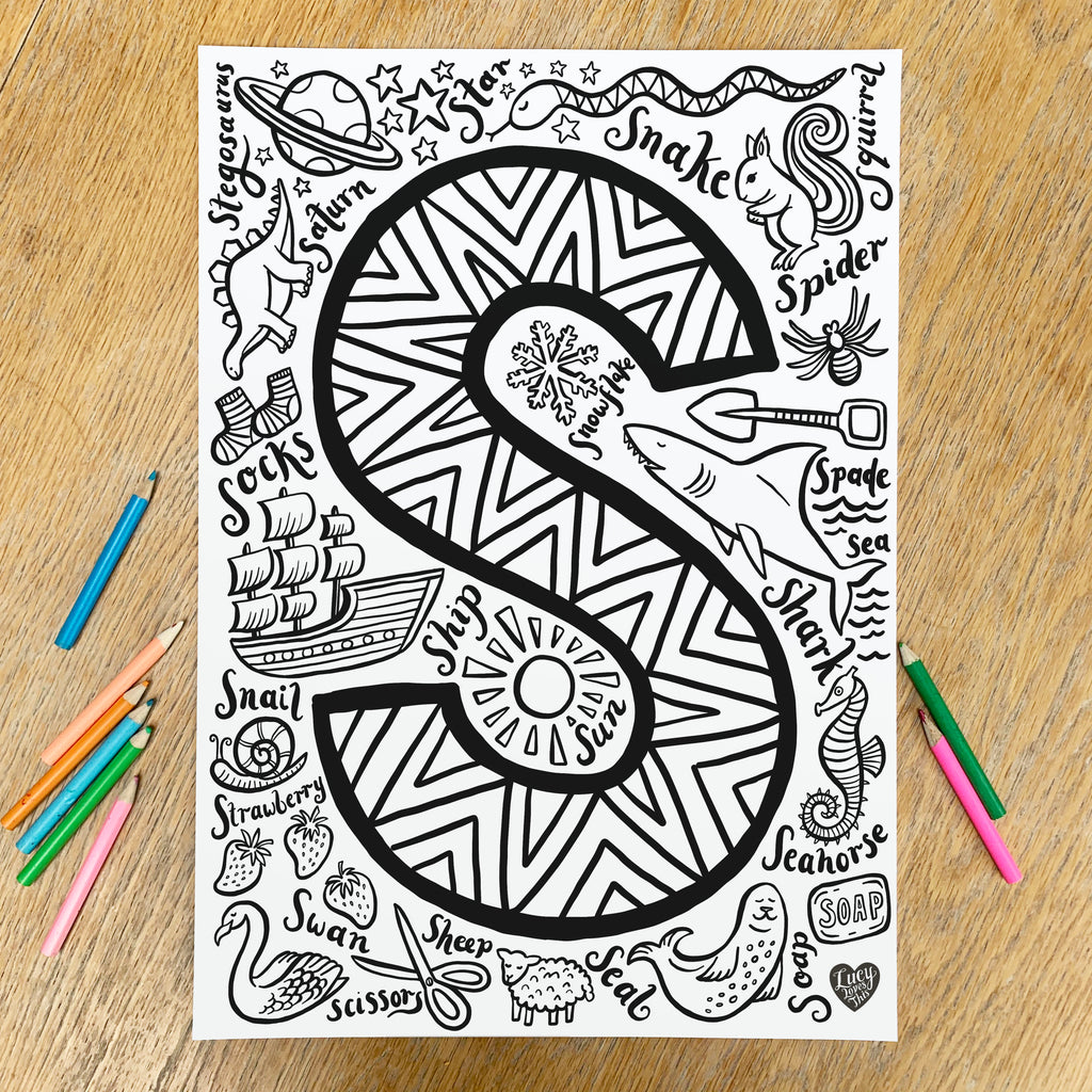 Letter S Colouring Poster - download