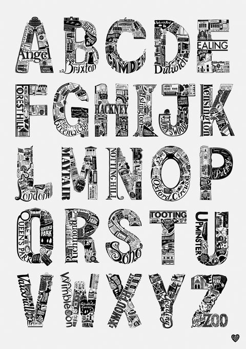London Area Alphabet Poster