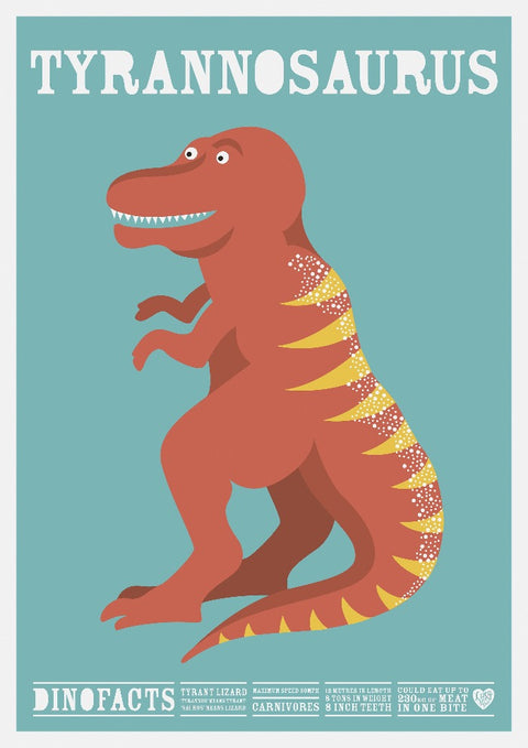 Tyrannosaurus dinosaur Print - as seen in Mr Tumbles room on Something Special