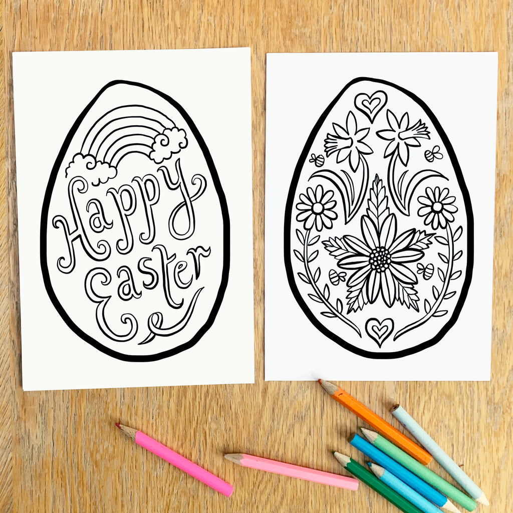 Set of four Easter egg Colouring Posters - download