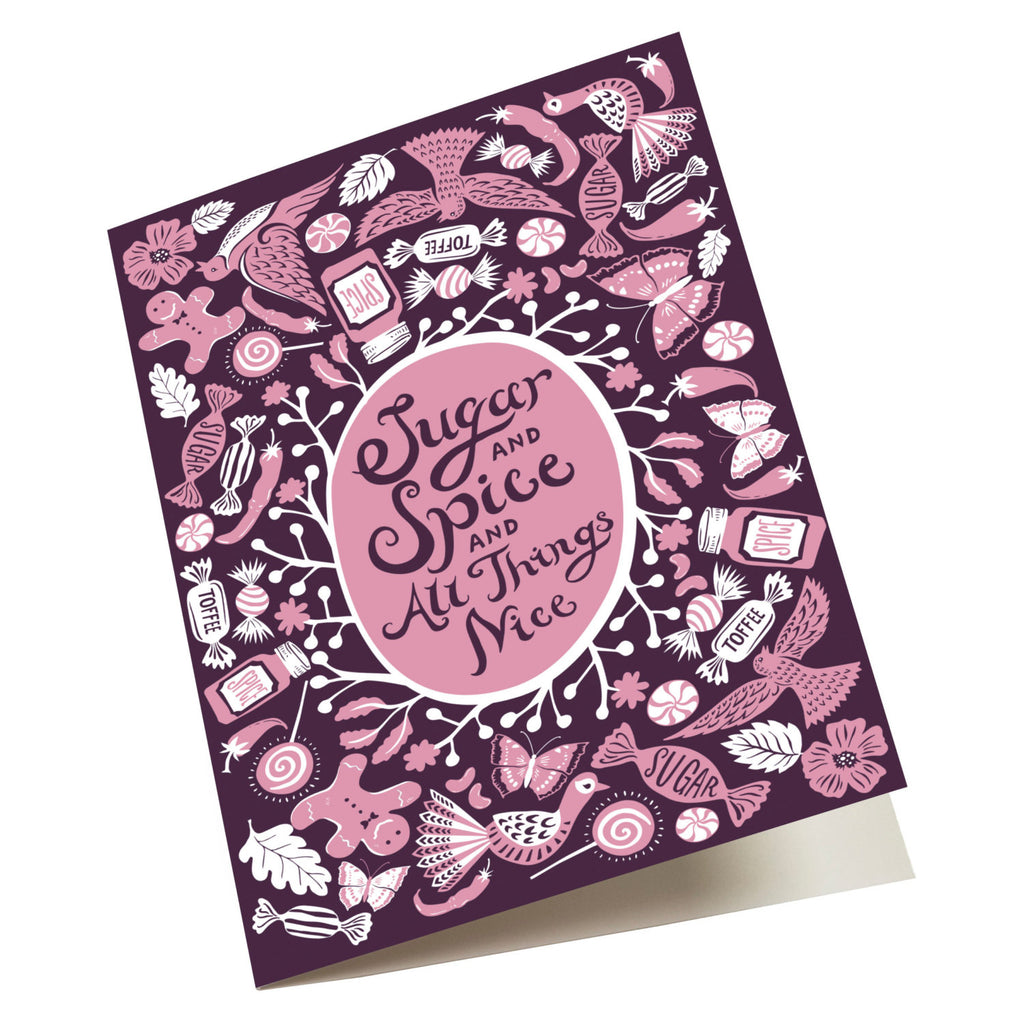 Sugar and Spice, new baby girl card