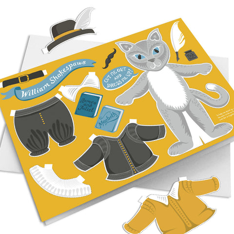 Dress Up Shakespeare cat Card