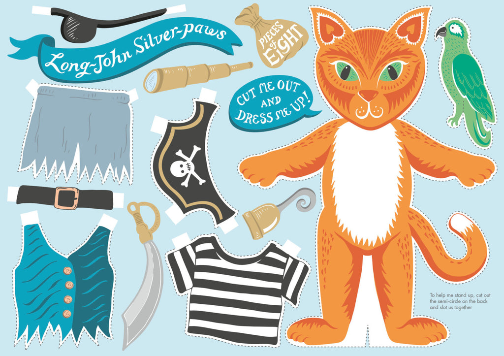 Pirate Cat Birthday Card Cut Out And Dress Up Lucy Loves This