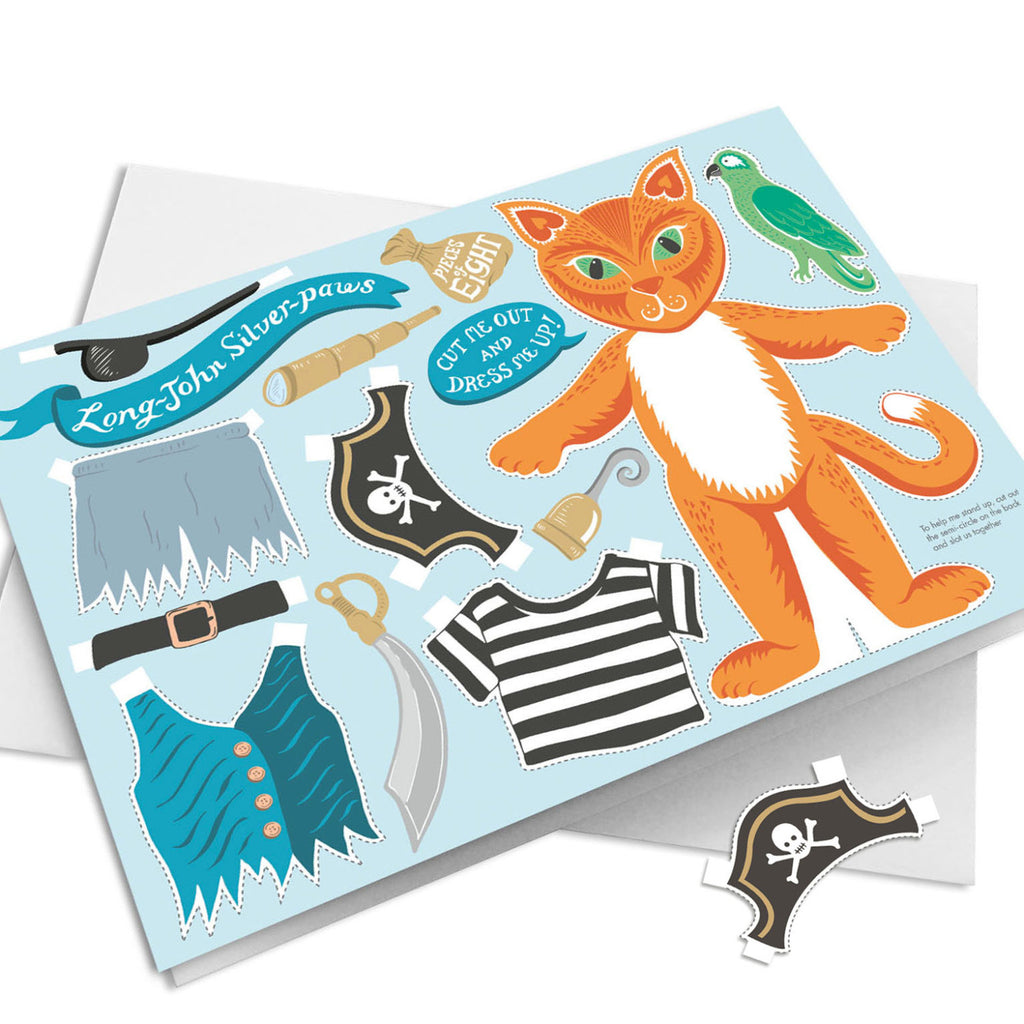 Pirate cat birthday Card - cut out and dress up