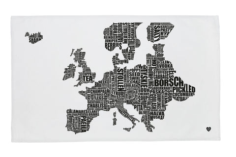 Europe Gastronomy Map Tea Towel