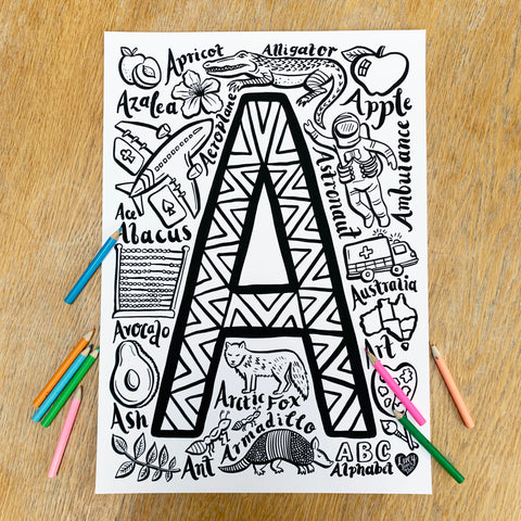 Letter A Colouring Poster - printed poster