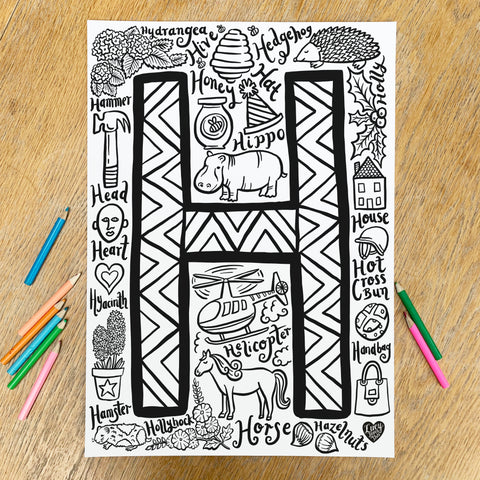 Letter H Colouring Poster - download