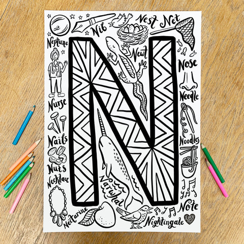 Letter N Colouring Poster - download