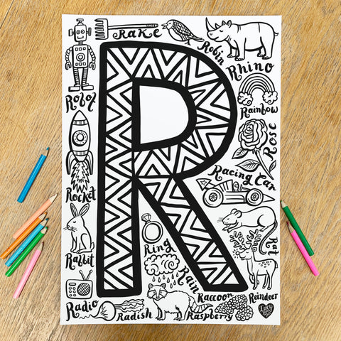 Letter R Colouring Poster - download