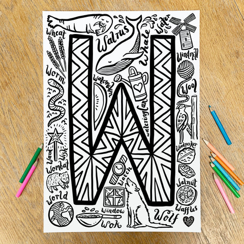 Letter W Colouring Poster - download