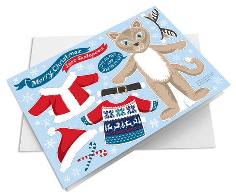 Dress Up Santa Paws Cat Christmas Card - stocking filler
