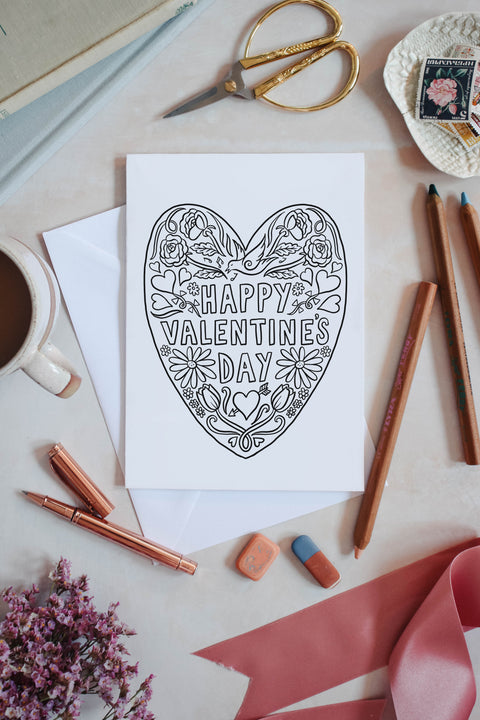 Valentines Colouring in card - download