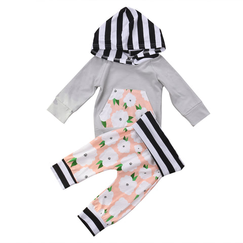 0-24M Autumn Girls 2pcs Hooded Clothes Set Newborn Baby Kids Girl Long Sleeve Flower Pocket Tops+Long Pants Outfits Clothing Set - Hollice