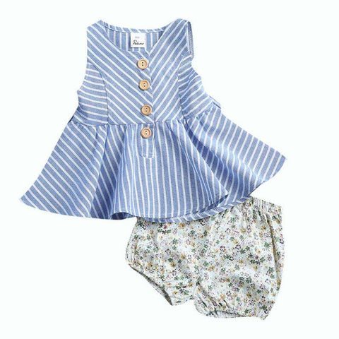 Infant Toddler Kids Baby Girls Summer Outfit Cotton Striped Sleeveless Tops Dress +Floral Short Pants Girls Clothes Sunsuit 0-4Y,,Hollice
