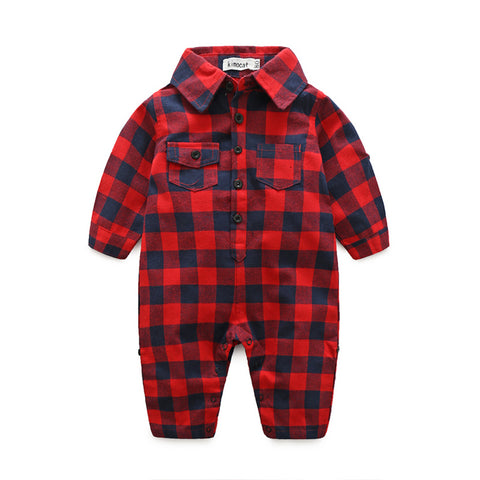 Plaid bebes clothes baby clothes long sleeve lapel baby romper newborn cotton baby costume baby boys newborn clothes - Hollice