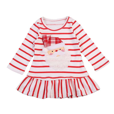 Pudcoco New Baby Girls Christmas Santa Claus Little Girls Cute Casual Xmas Striped Dress Clothes 0-5Y - Hollice