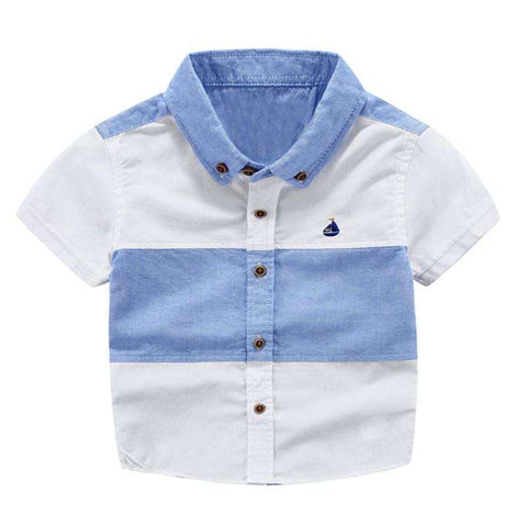 Fashion Summer Style Boys Shirts Short Sleeve Kids Patchwork Blouse Tops Children Clothing,,Hollice