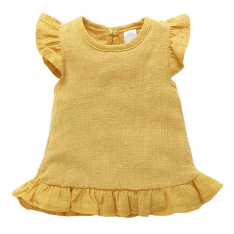 Girl Dress Pleated Sleeve Baby Shirt Top Linen Cotton Casual Baby Shirt Dress Retro Short Sleeve Baby Girl Dress,,Hollice