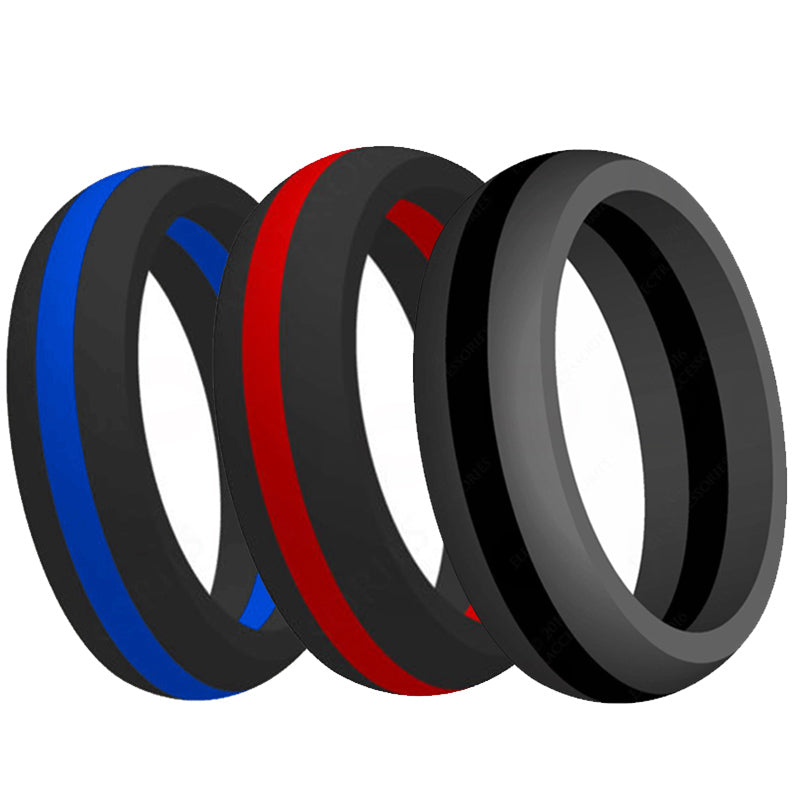 Silicone Ring Rubber Multi Color Hypoallergenic Cross fit Flexible Ring Band