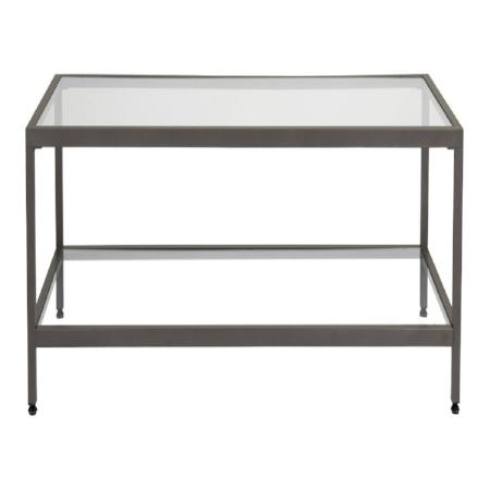 Entryway Camber Rectangle Glass Coffee Table With Pewter Finish - Pewter glass coffee table